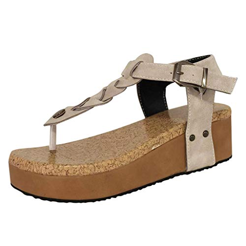 (Respctful✿Summer Shoes for Women Non-Slip Thong Elastic Sandals Beach Thong Flat Platform Wedge Flip-Flop Shoes Beige)