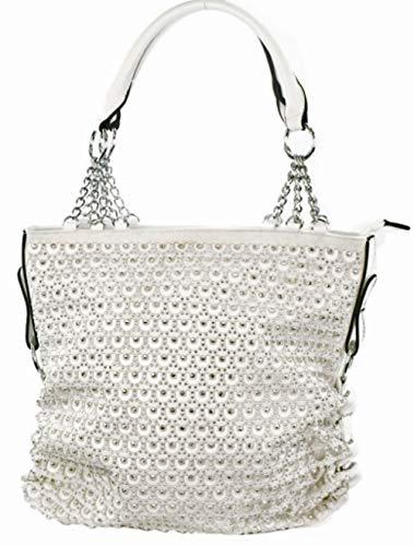 Zzfab 2nd Gen Chain Rhinestone handbags Circle sparkle purses (white)