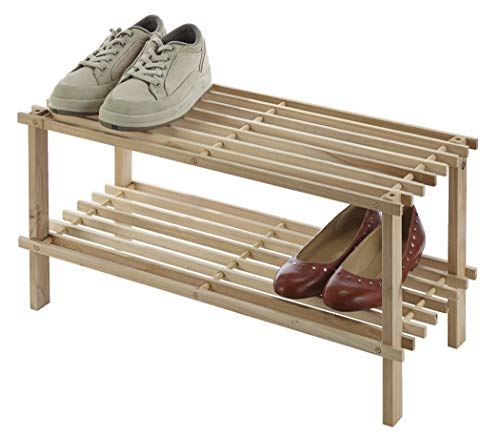 (Type A 2-Tier Shoe Rack | 6-Pair Utility Storage Organizer | for Bedroom, Entryway, Hallway, and Closet | Natural Pine)