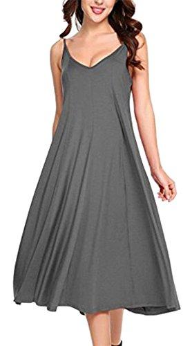Color Strap Dress Grey V Solid Spaghetti Summer Jaycargogo Tank Womens Neck X0qv6zw
