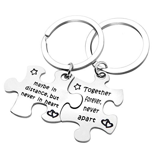 MYOSPARK Cpuple's Keychain Set of Two Long Distance Relationship Gift Puzzle Piece Keychain Set (Never Apart Keychain) by MYOSPARK