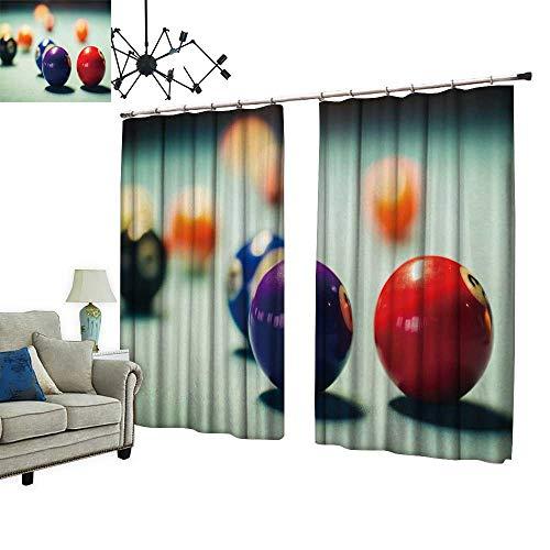 PRUNUS Blackout Window Curtain with Hook billiar Balls on a Pool Table Balance Indoor Temperature,W96.5 xL108