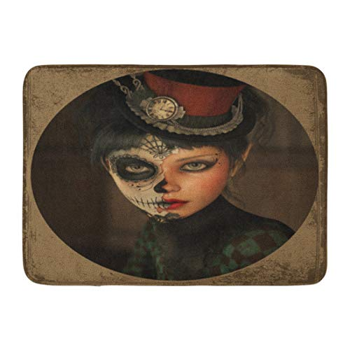 (Emvency Bath Mat Fantasy Death 3D Computer Graphics of Girl with Sugar Skull Makeup and Topper Her Head Mask Mexican Bathroom Decor Rug 16