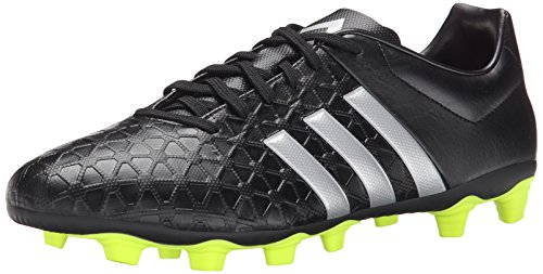 adidas Performance Mens Ace 15.4 Soccer Shoe Core Black/Silver Metallic/Solar Yellow