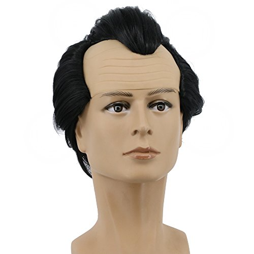 Yuehong Long Black Curly Men Party Cosplay Costume Halloween Hair Wigs]()