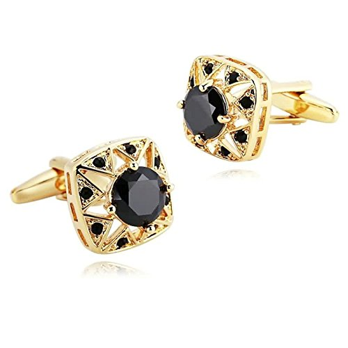 Epinki Mens Stainless Steel Gold Black Round Crystal Square Shirt Cufflinks for Wedding Business