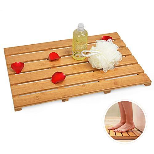 Domax Bath Mat Bathroom Floor Mats - for Shower Non Slip Waterproof Mildew Resistant Square Bamboo Mats Indoor & Outdoor