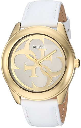 GUESS Women's Stainless Steel Leather Casual Watch, Color: White (Model: U0895L2)