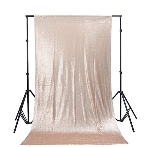 TRLYC 5FT x 9FT Champagne Sequin Backdrop Fabric Party Wedding Photo Booth -