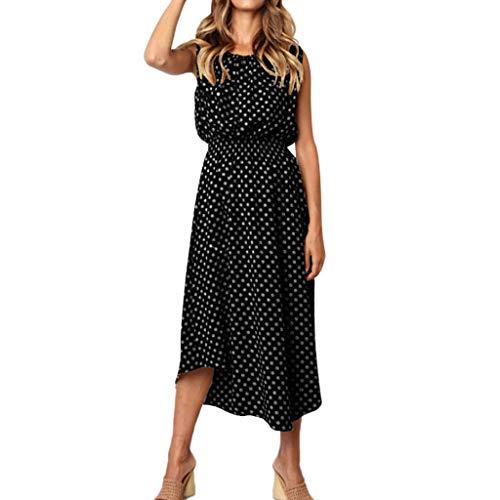 Toponly Women Sleeveless Midi Dress Polka Dot Printed O Neck Casual Long Beach Bohemian Evening Party Tank Dresses ()