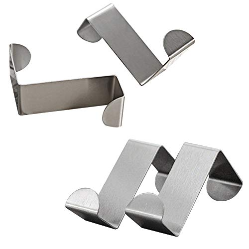 Mziart Pack of 4 Stainless Steel Reversible Over Door Cabinet Drawer Hooks Office Kitchen Towel Coat Hooks Rack, Silver