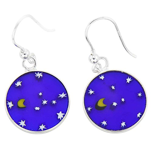 GlassOfVenice Murano Glass Millefiori Round Dangle Earrings Moon And Stars - Silver