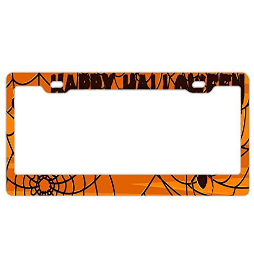 YEX Abstract Halloween Spider Web License Plate Frame Car Licence Plate Covers Auto Tag Holder 6