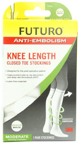 Futuro Anti-Embolism Stockings with Knee Length Closed Toe, White, Medium, Moderate (18 (Anti Embolism 18mm Stocking)