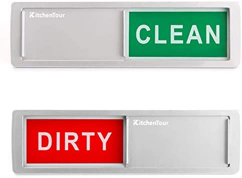 KitchenTour Clean Dirty Magnet for Dishwasher Upgrade Super Strong Magnet – Easy to Read Non-Scratch Magnetic Silver Indicator Sign with Clear, Bold & Colored Text