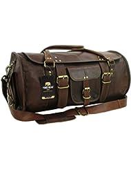 Yuge Bear 21 FR1 Genuine Leather Flap Duffel Overnight Travel Carry On Bag