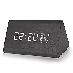 Warmhoming Wooden Digital Alarm Clock with 3 Levels Adjustable Brightness, Acoustic Control Clock with Time Temperature and Humidity (Black)