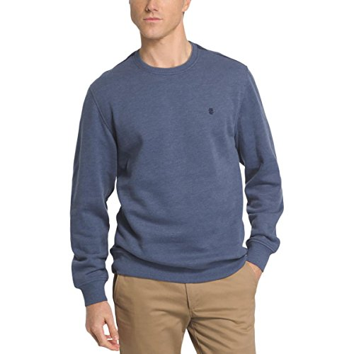 Crew Ribbed Sweatshirt (Izod Mens Monogram Ribbed Trim Crewneck Sweater Blue M)