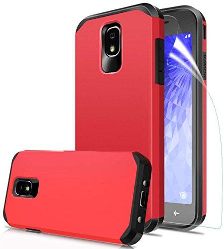 Samsung Galaxy J7 Refine Case, Galaxy J7 2018 Case, Galaxy J7 Star Case, J7V J7 V 2nd Gen/J7 Aura/J7 Crown Case, OEAGO Hybrid Shockproof Drop Protection Heavy Duty Dual Layer Case Armor Cover-Red