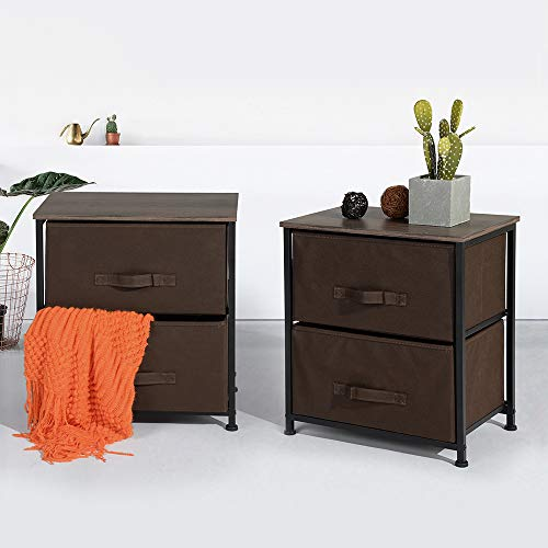 Aingoo Office Chest File Cabinets Set of 2 Vintage End Table Night Stand Wooden Dresser Drawers Storage H20 Inch Bedside Table Brown Portable File Cabinet Drawer