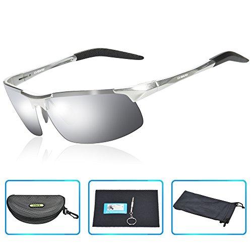 DAWAY SG06SM Mens Polarized Sports Sunglasses for Golf Fishing Cycling Driving - UV 400 TAC Lens with Al-Mg Unbreakable Metal - Polarizing Glasses