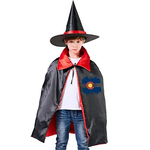 Children Colorado Flag City Halloween Party Costumes Wizard Hat Cape Cloak Pointed Cap Grils Boys