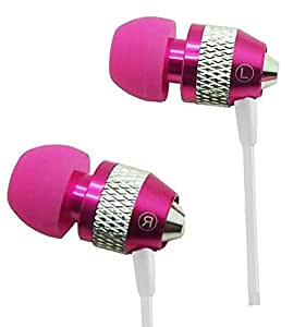 Super Bass Noise-Isolation Metal 3.5mm Stereo Earbuds/ Headset/ Handsfree for Xiaomi Mi 4i/ Mi Note Pro/ Mi Note/ Redmi 2 (Hot Pink) - with Microphone + MYNETDEALS Stylus