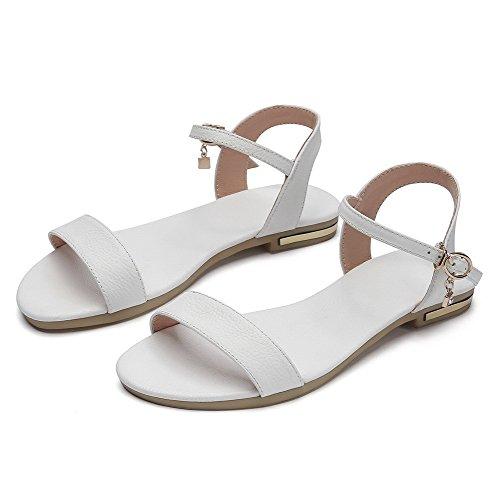 Amoonyfashion Kvinners Spenne Ku Skinn Åpen Tå Lave Hæler Solide Sandaler Hvite