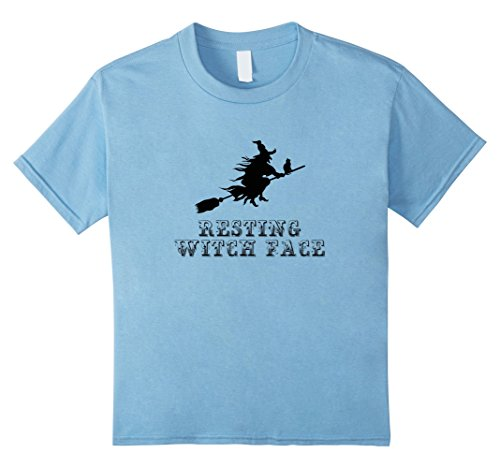 Kids Funny Resting Witch Face Easy Halloween Costume T-shirt BLK 4 Baby Blue
