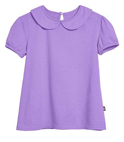 City Threads Little Girls' Peter Pan Collar A-Line Puff Tee Tshirt Blouse, Deep Purple, 10