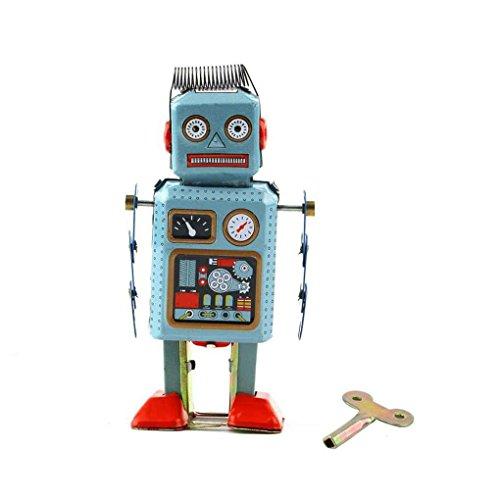 Firiodr Vintage Mechanical Clockwork Wind Up Metal Walking Robot Tin Toy Kids Gift]()