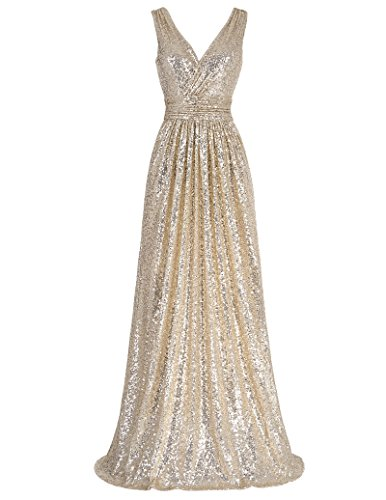 (Kate Kasin Womens Sleeveless Deep V Neck Long Pary Dresses Light Gold Size 2 KK199)
