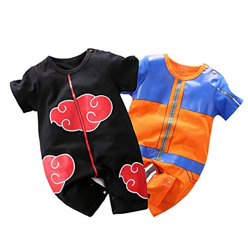 YFYBaby Baby Boys Girls' 2 Pack Short Sleeve Romper - Dragon Ball Z,One Piece,Naruto,Goku,Vegeta Red/Orange