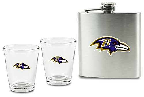 Baltimore Ravens Flask (NFL Baltimore Ravens Shot Glasses &  Brushed Stainless Steel Flask Set)