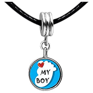 Chicforest Silver Plated Heart My Baby Boy Foot Blue Photo Topaz Crystal November Birthstone Flower dangle Charm Beads Fits Pandora Charms