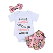 Newborn Baby Girls Clothes Letters Romper Floral Shorts with Headband Bodysuit Outfit Sets(80)
