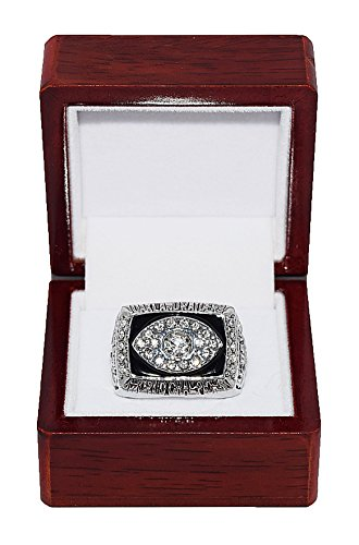 er Al Davis) 1976 SUPER BOWL XI WORLD CHAMPIONS Vintage Rare & Collectible High-Quality Replica NFL Football Silver Championship Ring with Cherrywood Display Box ()