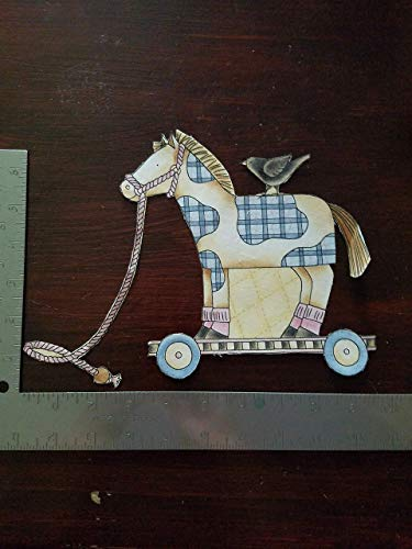 Handmade Vintage Horse Pull Toy,Nursery decor,wagon Iron on Applique #30