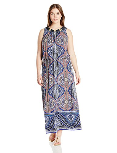 London Times Women's Plus-Size Paisley Blouson Maxi, Royal, 16W