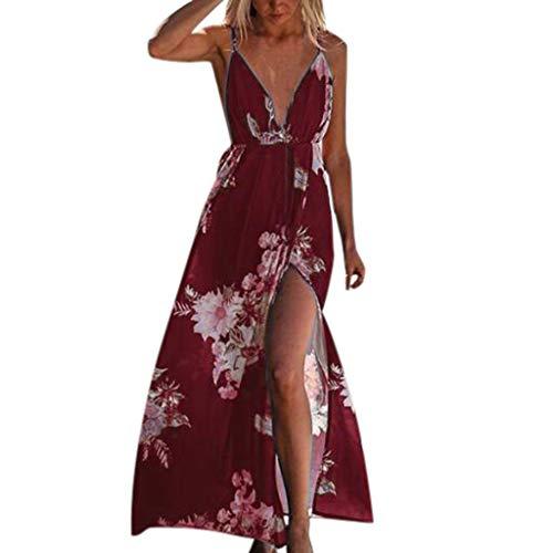- Woman Sexy Floral Print Split Dresses Loose Deep V Neck Strap Halter Dresses Sling Back Beach Long Maxi Dresses (RD, Small)