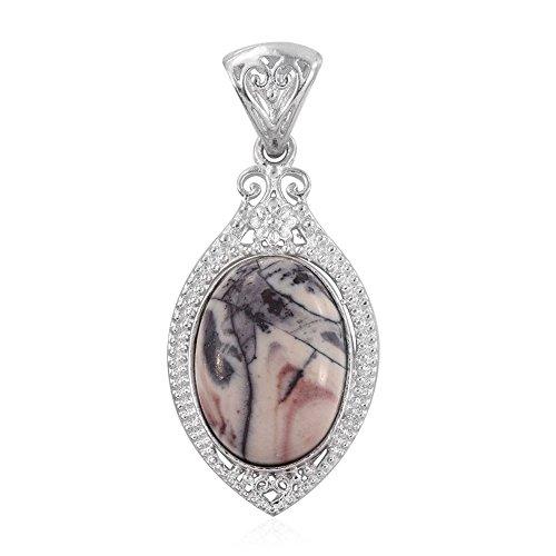 Jasper Porcelain Necklace (Porcelain Jasper Platinum Plated Brass Pendant without Chain TGW 9.100 Ct)