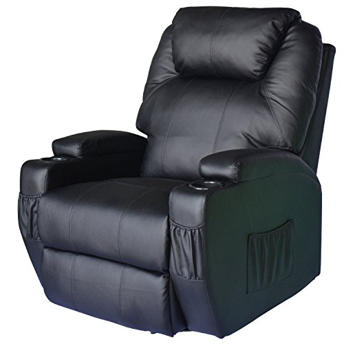 HomCom PU Leather Heated Vibrating 360 Degree Swivel Massage Recliner Chair with Remote - Black (Power Recliner Rocker)