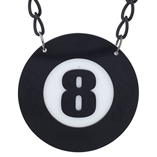 Lux Accessories Black White Eight 8 Ball Pool Halloween Large Pendant Necklace]()
