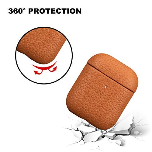 AirPods 2/AirPods 1 Leather Case, KWUY Handcrafted Fully-Wrapped Lychee Genuine Leather Cover (Front LED Visible), Support Wireless Charging Shockproof Protective Shell for AirPods 2/1 - Brown