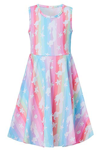 - Goodstoworld Summer Dresses for Girls Pink Mermaid Dress Sleeveless Casual Playwear Party Twirl Dress Beach Sundresses Stylish A-line Flared Dress Birthday Gifts 10-13 Years