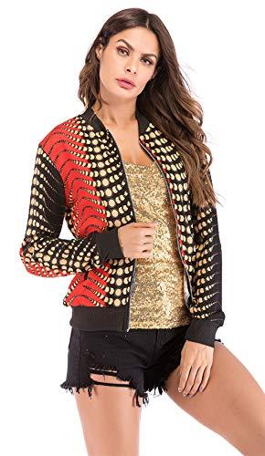 Mode Floral Femmes Casual Zipper Manches Vrac En Baseball Imprimé H Jacket Longues Coat Sport 8Iddrq