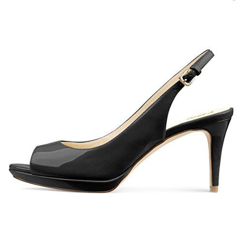 Black Mid Toe Platform Women Slingback Office YDN Shoes Peep Formal with Pumps Heels Buckle wfxOn6Zqn