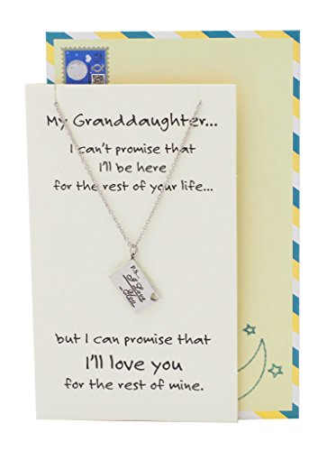 Quan Jewelry Granddaughter Engraved Gifts, Stainless Steel, Inspirational Quote on Greeting Card, 16-in to ()