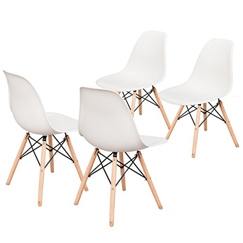 Cheap Merax Luxurious White Molded Plastic Side Chairs with Walnut Wooden Base,(Set of 4)