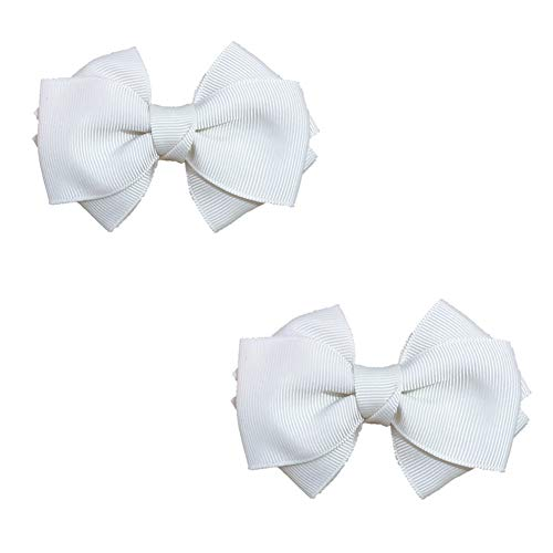 Douqu 8.5cm Bridal Wedding Black Cream Red Nude Blue Pink Wild Ribbon Bow Butterfly Shoe Clips (Cream)